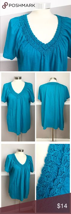 Selling this Teal Turquoise Short Sleeve Vneck Shirt on Poshmark! My username is: katwieme. #shopmycloset #poshmark #fashion #shopping #style #forsale #JMCollection #Tops #tshirt #teal #turquoise
