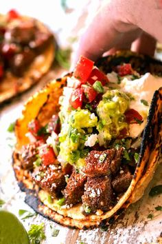 Happy Taco Tuesday with juicy CARNE ASADA STREET TACOS exploding with flavor and your favorite toppings with just minutes of prep! Mexican Dishes, Mexican Food Recipes, Beef Recipes, Cooking Recipes, Healthy Recipes, Delicious Recipes, Tasty Meal, Harira, Carlsbad Cravings