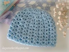 Crochet Baby Hats Lacy Crochet: V-Stitch Newborn Beanie, Free Crochet Pattern Crochet Baby Hats Free Pattern, Bonnet Crochet, Crochet Baby Beanie, Newborn Crochet, Crochet Patterns, Booties Crochet, Crochet Blogs, Doily Patterns, Pattern Ideas