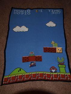 Crochet 8 bit mario blanket made by me