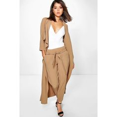 Boohoo Lara Belted Woven Trouser ($30) ❤ liked on Polyvore featuring pants, camel, tapered pants, basic t shirt, tailored pants, woven pants and wide leg trousers