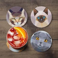 Geometric Cat Coaster Set #cats #coasters #entertaining #drinkware #barware http://meowcatimports.com/products/coasters-geometric-cat-coaster-set-print-pets-cork-designer-coaster-set-birthday-housewarming-gift-idea-polygonal-animals-drink-coasters-1?utm_campaign=crowdfire&utm_content=crowdfire&utm_medium=social&utm_source=pinterest