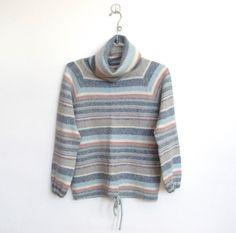 SOLD / #Vintage 1970 - 80s Genesis / Pastel Striped Loose Turtleneck Sweater / Drawstring Waist by VelouriaVintage on Etsy