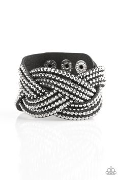 Top Class Chic - Black Bracelet - $5  Oversized glassy hematite rhinestones are encrusted along strands of crisscrossing black suede, creating a fierce shimmer around the wrist. Features an adjustable snap closure.  Sold as one individual bracelet.