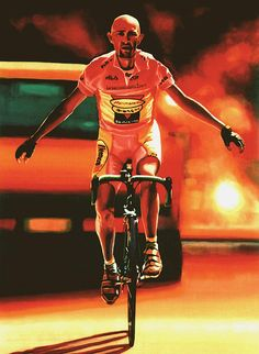 Marco Pantani - realistic acrylic painting by the Dutch fine artist Paul Meijering - The Original painting is 120 x 90 cm and sold to the Pantani museum in Cesenatico, Italy