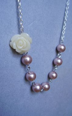 Feminine and Flirty Rose and Pearl Necklace by RWSJEWELRY on Etsy, $13.00