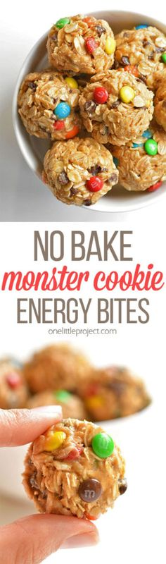 These no bake monster cookie energy balls are so easy to make and they taste DELICIOUS! They're a perfect afternoon snack and they actually fill you up!
