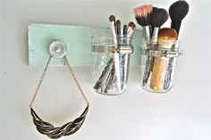 Mason Jar Organizer. #MasonJar $18.00 on Liz Marie on Etsy. Sneak peek of what's to come in the shop! Stay tuned for lots more.