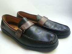 TOMMY BAHAMA Black brown Leather Slip On Loafers Shoes Size 9.5 mens driving #TommyBahama #LoafersSlipOns~SOLD!