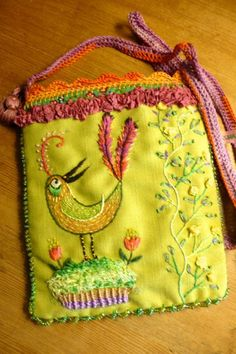 Etsy の pouchshoulderbaghand embroidered OOAK by pussman
