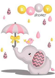 Cute elephant with baby shower card vector