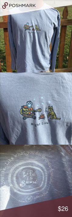 Life is Good Mens Night Life Camping Shirt Size M Size medium. Super gently preowned. Be sure to view the other items in our closet. We offer both women's and Mens items in a variety of sizes. Bundle and save!! Thank you for viewing our item!! Life is Good Shirts Tees - Long Sleeve