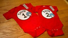 Set of Thing 1 Thing 2 or Twin 1 Twin 2 Onesies by onetrickzebra, $34.00