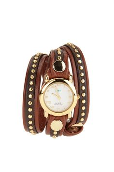 Bali Stud Watch by La Mer - got a La Mer watch like this -without studs - and love it! Wrap Watches, Cute Watches, Gold Watches, Stylish Watches, Bling Bling, Jewelry Accessories, Fashion Accessories, Fall Accessories, Fashion Jewelry