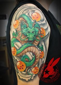 Dragon Ball Z Dragonball Balls Shenron Realistic 3D Japanese Color Sleeve Tattoo bu Jackie Rabbit Custom Tattoo by Jackie Rabbit @ Eye of Jade Tattoo 6165 Skyway, Paradise, CA (530) 343-5233 www.jackierabbittattoo.com