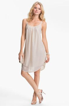 Mimi Chica Metallic Stripe Trapeze Slip Dress (Juniors) | Nordstrom    This would be cute with a little belt added....