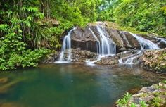 Beautiful waterfall in Bocawina National Park in Belize
