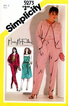 Vintage Sewing Pattern - 1981 Misses Pullover Dress, Camisole, Tapered Pants, Jacket, and Belt, Simplicity 5273 Size 12 Bust 34