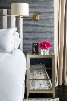 Design Project: Inside A Glam High Rise Apartment In Florida House Of Hackney Wallpaper, Monochromatic Living Room, Open Plan Apartment, High Rise Apartments, Side Tables Bedroom, Lisa, Guest Bedrooms, Master Bedroom, Furniture Styles