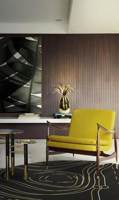We're in love with the rich colors in this mid-century modern living room