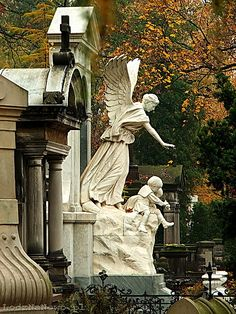 Lodz Poland ~ ღ Skuwandi Cemetery Angels, Cemetery Statues, Cemetery Art, Angel Statues, Old Cemeteries, Graveyards, Angels Among Us, Art Sculpture, After Life