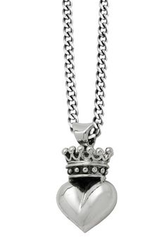 Sterling Silver 3D Crowned Heart Pendant Necklace on HauteLook