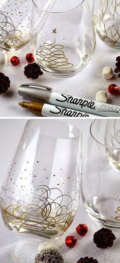 Sharpie Christmas Glasses SO CUTE!!                                                                                                                                                                                 More