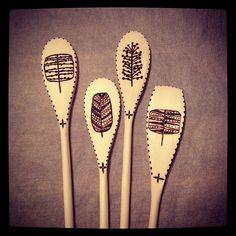Woodburned spoons - trees | Flickr - Photo Sharing!