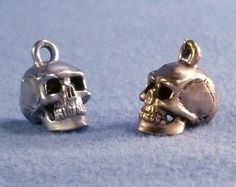 5 Pewter Skull Charms Biker Goth Punk Silver or Gold