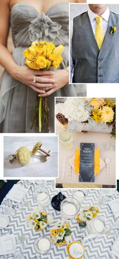 I like the yellow flowers with the grey bridesmaids dresses. The grey chevron table linen is fun too. Maybe cocktail tables? Grey Bridesmaids, Grey Bridesmaid Dresses, Wedding Dresses, Plan My Wedding, Our Wedding, Dream Wedding, Best Friend Wedding, Marrying My Best Friend, Wedding Themes