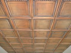 Cambridge - Faux Tin Ceiling Tile - 24 in x 24 in - 06 : Instead of a standard drop ceiling – Decorative Ceiling Tiles, Inc. Plastic Ceiling Tiles, Faux Tin Ceiling Tiles, Tin Tiles, Replacing Ceiling Tiles, Ceiling Tiles Painted, Ceiling Painting, Painting Walls, Covering Popcorn Ceiling, Dropped Ceiling