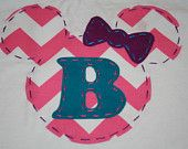 Minnie Mouse Princess Shirt, Initial or Number, OR Disney Vacation Shirt, Mickey or Minnie Mouse, felt or fabric. $29.95, via Etsy.