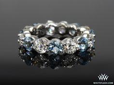 Eternity Diamond and Aquamarine Wedding Band