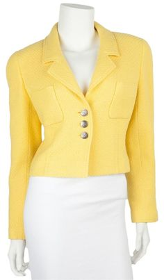 Chanel Yellow Blazer. Free shipping and guaranteed authenticity on Chanel Yellow Blazer at Tradesy. Chanel Yellow Tweed Cropped Blazer. Silver CC Butt...