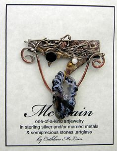 Crystal Cave Opal and Onyx  Brooch  in Sterling by mysticafelicity $39.99