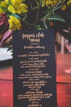 Modern menu card idea - black menu cards with rose gold calligraphy {Rabbit Rabbit Crew}