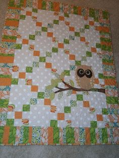 Owl Quilt -- I love this... I really like owls lately for some reason.  It would be easy to appliqué this on any simple quilt for a cute added touch.