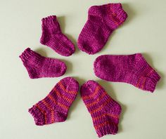 A basic toe-up sock pattern for babies. This would be an appropriate pattern for a first time sock knitter who is already familiar working in the round. This pattern is written to be knit one sock at a time, but could easily be knitted two at a time. These socks can easily be adapted to include stripes, color working, or even lace components! A great jumping off point.