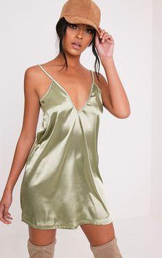 Erin Sage Green Plunge Satin Slip Dress Image 1