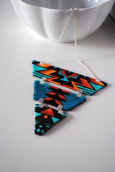 Navajo triangle necklace native reversible by SewingMischiefGems. $42.00, via Etsy.
