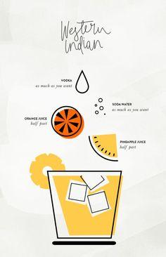 summer cocktails by cocorrina great retro style illustration infographic Web Design, Logo Design, Poster Design, Typography Design, Layout Design, Retro Design, Branding, Fruit Logo, Magazin Design