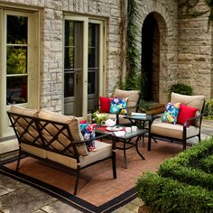 Shop Garden Treasures Vinehaven 4 Piece Patio Conversation Set At Loweu0027s  Canada. Find Our