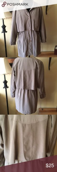 American Bazaar car length overcoat Size medium fully lined (removable) overcoat in taupe. Drawstring waist. Lovely coat with many classic details. Very roomy...would probably fit a size large as well. American Bazaar Jackets & Coats