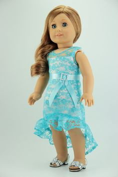 "American Girl Doll Clothes - Lacy High-low Dress (fits 18"" Doll) (001blu)"