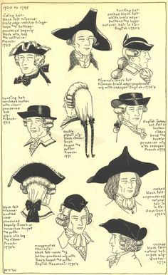 """ 18th Century Men's Hats and Wigs from the Village Hat Shop Gallery Set I, 1700-1795 """