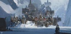 The Ice Village, Paul Riebe on ArtStation at https://www.artstation.com/artwork/3DezE