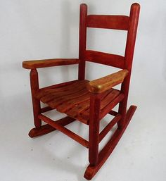 Awwwwesome child's rocking chair! 22 in high x 15 in wide at widest point x 18.5 in deep at the rockers!! Loove the red paint and of course the sweet wooden slats!!!