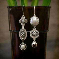EraArtJewelry. Mismatch Sterling Silver & Stone Earrings. $247.00, via Etsy.