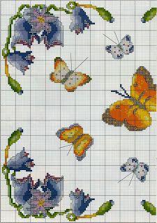 Professione Donna: Schema punto croce: Un quadretto con le farfalle e con i fiori