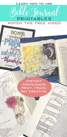 I love that there is a free video to watch to see exactly how these printabless are used ~ how the artist gets creative with them. These bible journal printables are beautifully designed, and perfect for any one who Bible journals. Use these printables in your Bible, prayer journal, or to create craft projects.  #biblejournaling #crafting #coloring #journaling #affiliatelink